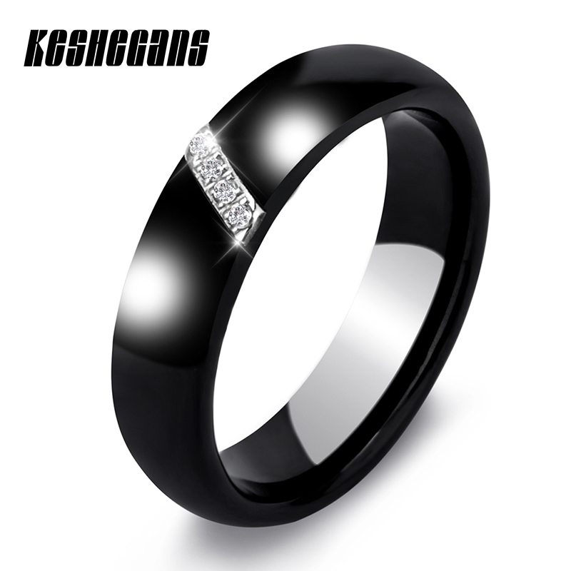 New 6MM Crystal Ceramic Ring Cubic Zirconia Stone Black And White Color Women Jewelry Engagement Wedding