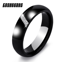 New 6MM Crystal Ceramic Ring Cubic Zirconia Stone Black And White Color Women Jewelry Engagement Wedding Band Gifts For Women