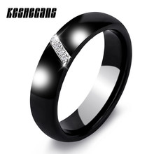 New 6MM Crystal Ceramic Ring Cubic Zirconia Stone Black And White Color Women Jewelry Engagement Wedding Band Gifts For Women(China)