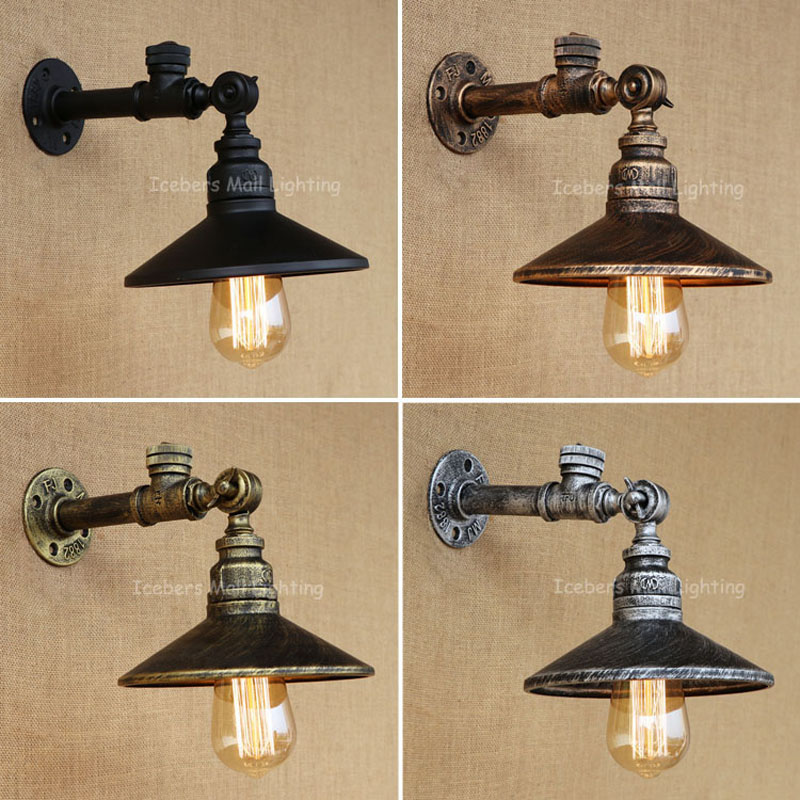 New Vintage Loft American Aisle Water Pipe Wall Lamp Bar Restaurant RH Iron Industrial Pipes E27 Retro Lamp water pipes light source set produced 75 industrial water wall lamp retro cafe loft american iron wall zzp