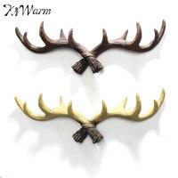 Kiwarm rústico renos ciervo Antlers esculturas pared abrigo Ganchos pared decorativo decoración artesanía Adornos arte regalo