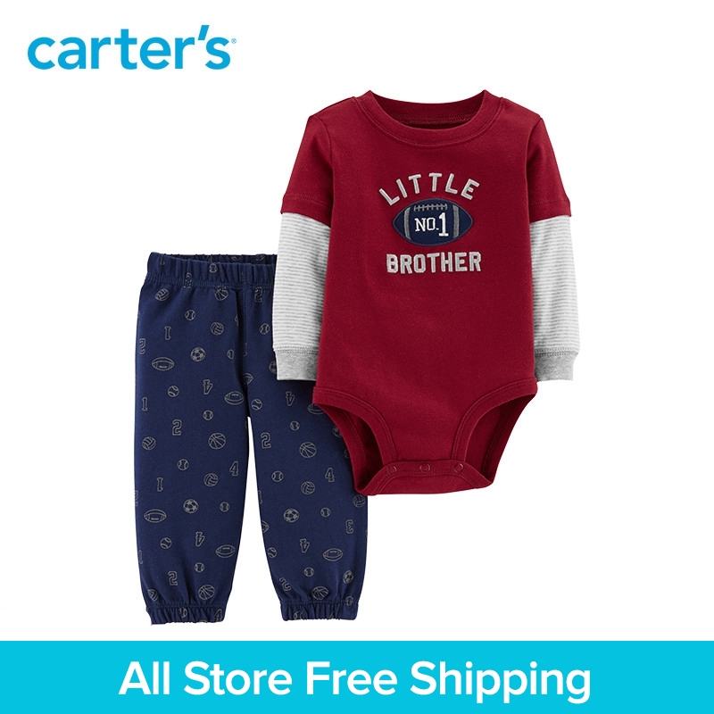 2pcs embroidered layered look bodysuit football print pants set Carter's baby boy spring autumn clothing 121I652 sheep embroidered top and pants pajama set