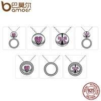 BAMOER 100% 925 Sterling Silver Red Heart & Bowknot Colgantes y Collares para Las Mujeres de Múltiples Funciones de DIY Joyería SCN056