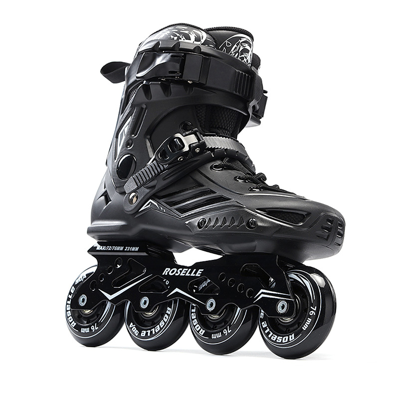 Adults Men's Professional Inline Skate Shoes Freestyle Skating Boots Outdoor Roller Skates Patins Patines White/Black professional speed skate shoes inline skates frame adults kids roller skating boots frame aluminium alloy frame