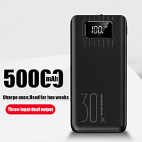 18650 Power Bank High Capacity 50000mah External Battery 3 USB LED Powerbank Type c Portable Mobile charger for Xiaomi 5S/note