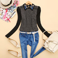 2014 Time-limited Top Fasion Full Cotton Blouse Blusas - E991 Autumn Women's Sparkling Diamond Tweed Fabric Pullover Shirt J-03