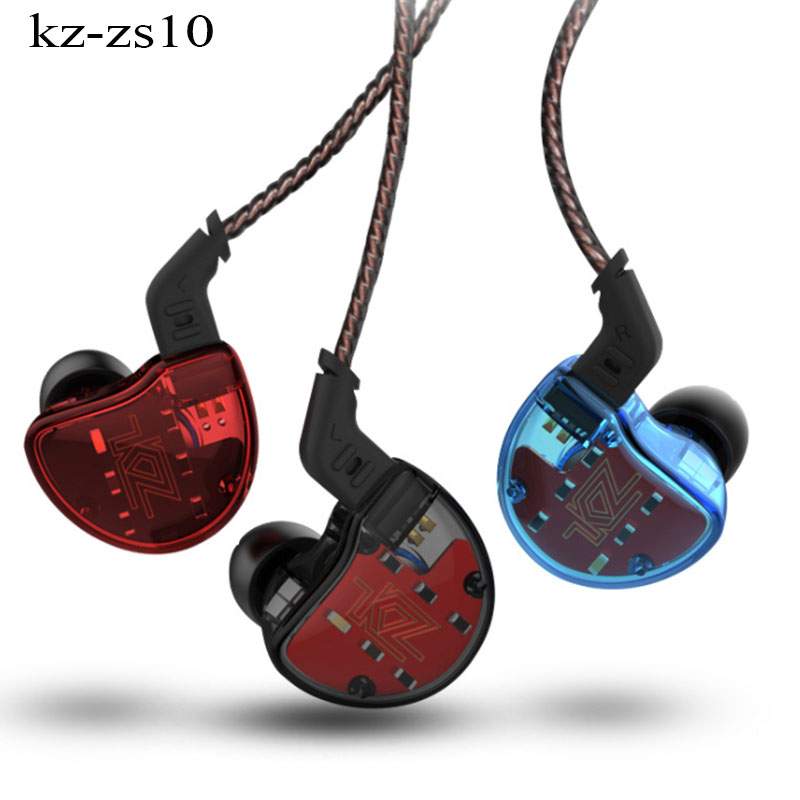KZ ZS10 Earphones 10 Drivers auriculare In Ear Earbuds 4BA+1Dynamic Armature HiFi Bass Headset Noise Cancelling In Ear Monitor kz ed2 stereo metal earphones with microphone noise cancelling earbuds in ear headset dj xbs bass earphone hifi ear phones
