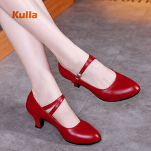 Brand New Genuine Leather Latin Salsa Dance Shoes Women Ladies Jazz Ballroom Dance Shoes Heels 5.5cm Red Black zapatos de mujer women dance shoes black genuine leather ballroom shoes dance shoes latin salsa bachata dance shoes