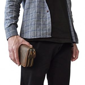 Image 5 - MAHEU Double Zipper Women Men Long Wallet Vintage Leather Male Clutch Purse Man Phone Card Coin 100% Genuine Leather Men Wallet