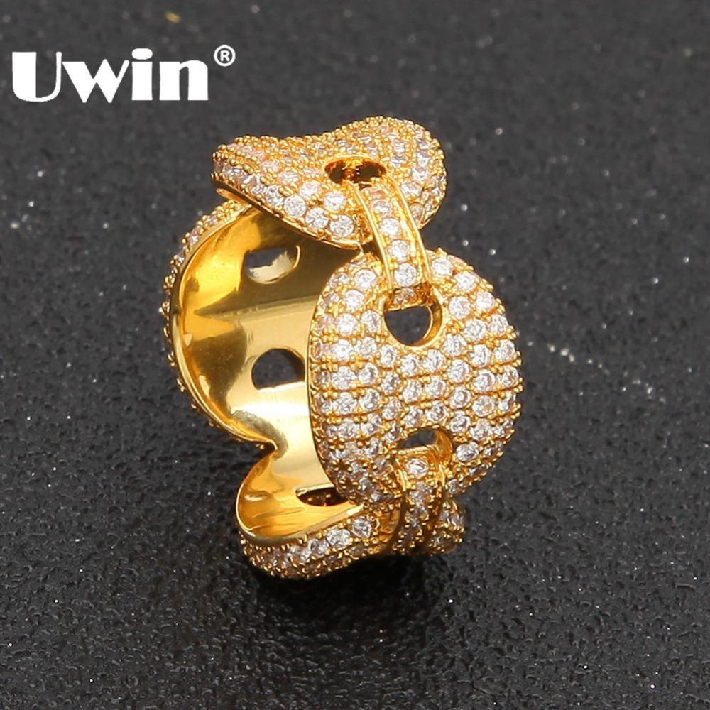 Uwin Fashion Rings For Men/Women Puffed Marine Chain Fat Links Ring Micro Paved Colored Cubic Zirconia Rapper Hiphop Jewelry 24cm pvc deadpool action figure breaking the fourth wall scene dead pool kids birthday christmas model gift toys