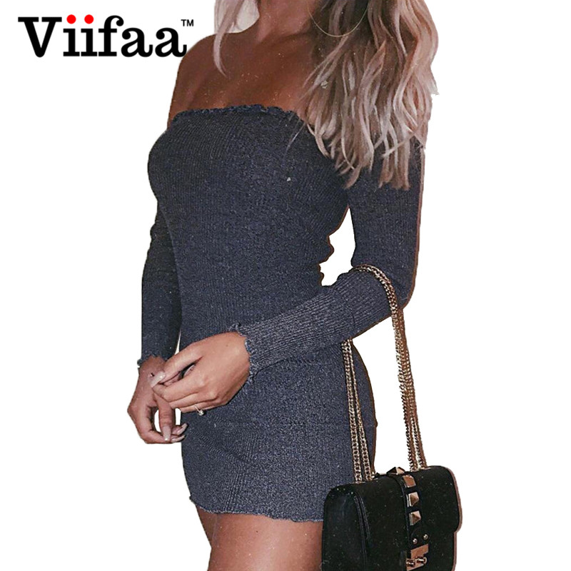 Viifaa Off Shoulder Ruffle Sexy Dress Long Sleeve Women Bodycon Knitted Dresses Autumn Winter Party Dresses
