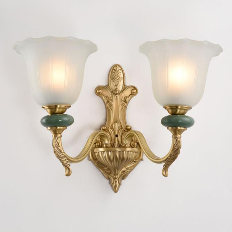 Us 89 76 12 Off Traditional American Wall Lamps Decorative Ceramic Wall Sconce Frosted Glass Living Room Background Lamps Bedroom Bedside Lights In
