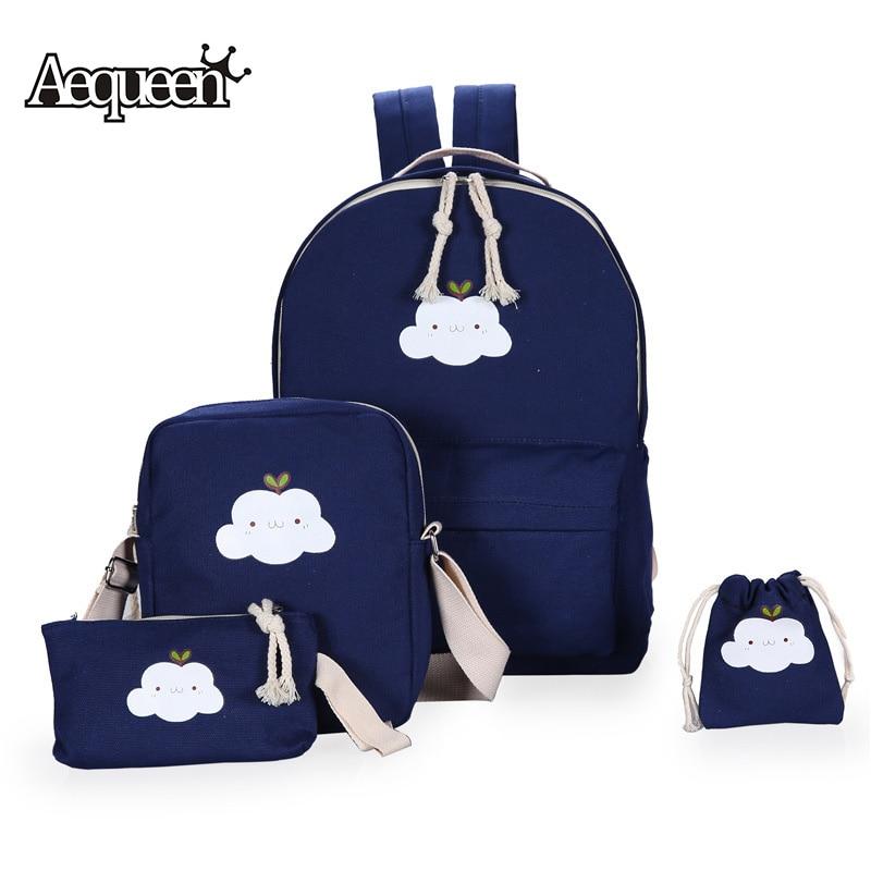 Aequeen 4pcs/sets Women Backpacks Canvas Book Bags Cute Cloud Print Schoolbag For Teenager Girls Composite Bag Casual Mochila