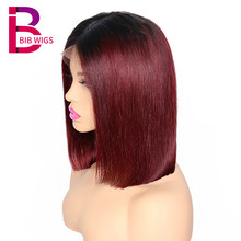 1B/27 Ombre Black 13*4 Lace Front Human Hair Wigs For Women Pre Plucked Brazilian Remy Hair Straight Short Bob Wig BIB(China)