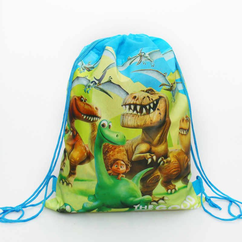 1 יח'\חבילה שמח מסיבת יום הולדת תרמיל דינוזאור קריקטורה נושא המוצ 'ילה בעיצוב שאינו ארוג בד תינוק מקלחת שרוך מתנות שקיות