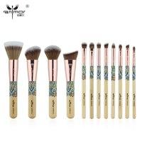Anmor Yeni 12 ADET Makyaj Fırçalar Bambu Profesyonel Makyaj Fırça Seti Yumuşak Sentetik Kozmetik Fırça Seti