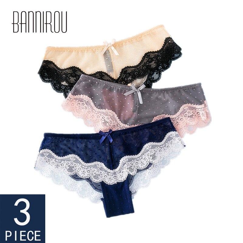 3 Pcs Woman Panties Sexy Lace Underwear For Women Dot Breathable Hollow Transparent Female Panties Woman Briefs M-XL BANNIROU
