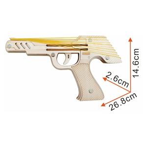 Image 2 - Laser Schneiden DIY 3D Holz Puzzle Holzhandwerk Montage Kit 9 Laufschuhe Feuer Gummiband Pistole Für Kind Geschenk (mit 50 + gummi bands)