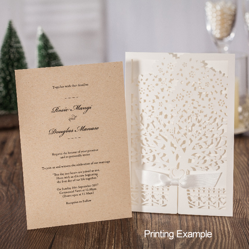 (10 pieces/lot) Vintage Kraft Cards White Engagement Invitations Tree Design Birthday Retirement Invitation Card CW6176