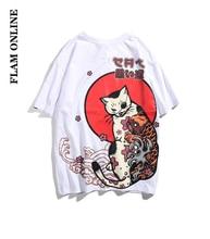 FLAM ONLINE Men Japanese UkiyoE Cat T-shirt Harajuku Street wear Hip Hop T Shirt Casual Short Sleeve Summer Tops Tee Japan Style