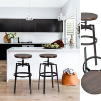 HOMYCASA SET OF 2 bar stools Bar chair Adjustable Height Stainless Steel industrial bar stool modern bar stool