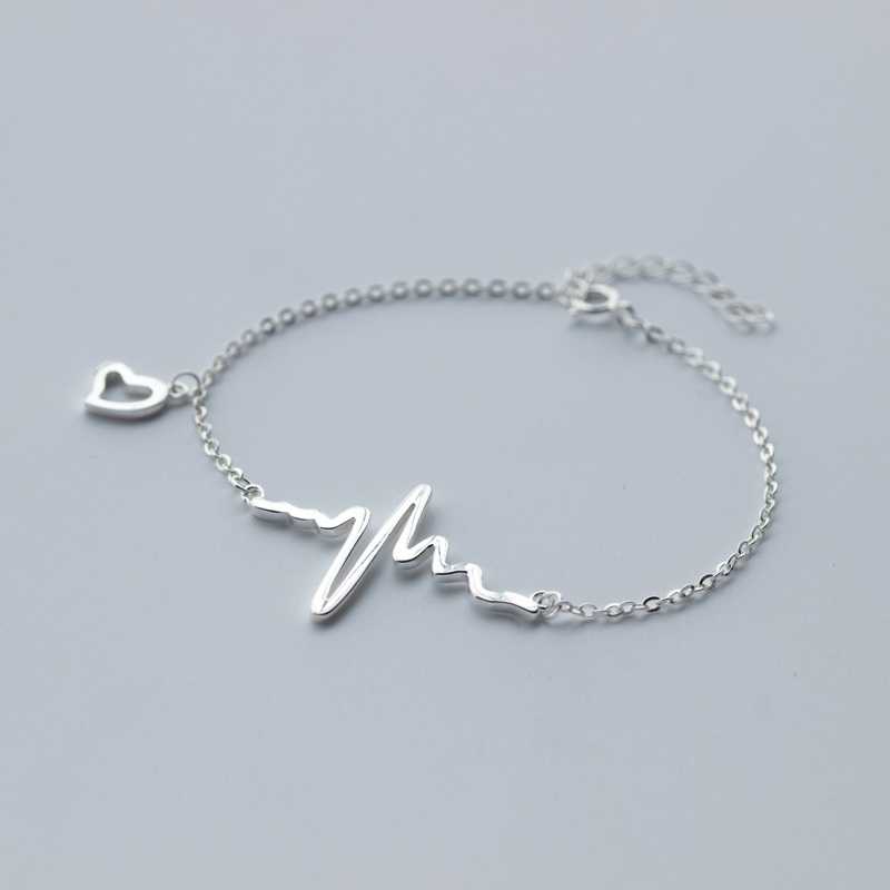 1pc 925 Sterling Silver Heartbeat Life Pulse chain bracelet Jewelry adjustable 7.5INCH LS1311pc 925 Sterling Silver Heartbeat Life Pulse chain bracelet Jewelry adjustable 7.5INCH LS131