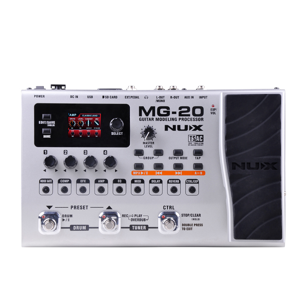 NUX MG-20 Guitar Effects Modeling Processor Drum Pattern Switch Pedal Solo Tapo Delay Guitar Multi-Effects AMP Multi Function nux mg 20 electric guitar multi effects pedal guitarra modeling processor with drum machine eu plug