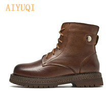AIYUQI Martin boots women 2019 new genuine leather ankle cow womens short shoes