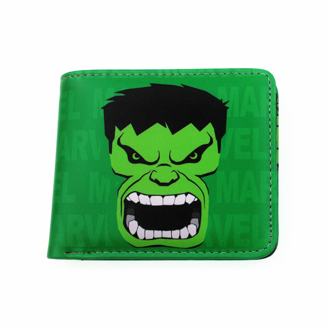 Comic marvel hulk verde brinquedo de presente titular do cartão bolsa carteira spiderman batman deadpool adolescente com cion zipper