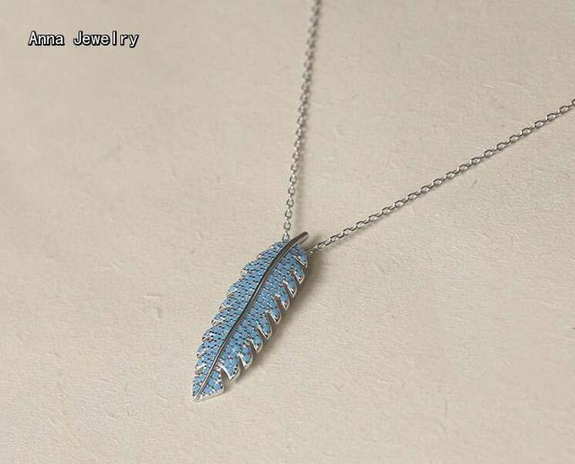 0c1cb70219a80 Little Luxury Designer Dazzling Feather Pendant Necklace,Solid 925 Sterling  Silver With 3 Colors Stones.Cute Necklace For Women-in Pendant Necklaces ...