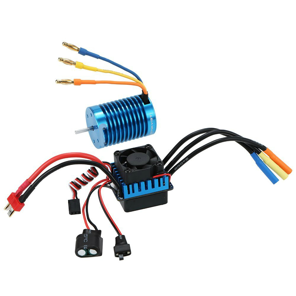 3650 4370KV 4P Sensorless Brushless Motor with 45A Brushless ESC (Electric Speed Controller) for 1/10 RC Off-Road Car 3650 3900kv 4p sensorless brushless motor 60a brushless elec speed controller esc w 5 8v 3a switch mode bec for 1 10 rc car