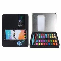 36 cores conjunto profissional da pintura da aguarela, escovas, lápis do carvão vegetal, papel de 8 pces na caixa da lata do metal-para artistas e passatempo brotamento