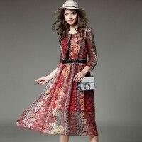 Cfyh 2017 najnowszy wysokiej jakości projektant mody wiosna lato szyfon jedwabny drukowania dress damski wydrukowano tassel dress vestidos
