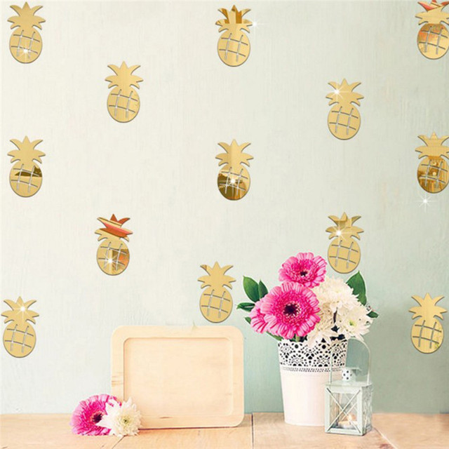 12 Teile/satz 3D Acryl Spiegel Wand Aufkleber Ananas Form Aufkleber Wand  Kunst Abziehbilder Kinderzimmer
