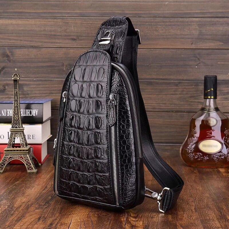 McParko z prawdziwej skóry krokodyla kobiet torebki torba w klatce piersiowej mężczyzna skórzane torby Crossbody luksusowe Alligator torba w klatce piersiowej Hip Hop Punk Gothic Rock Chestbag mężczyzna w Saszetki od Bagaże i torby na  Grupa 2
