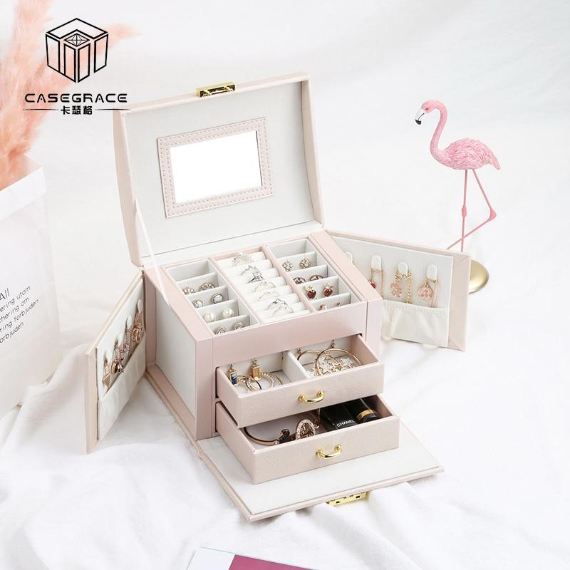 Casegrace New Jewelry Box Large Capacity Leather Storage Jewelry Box Earring Ring Necklace with Mirror Watch Jewelry Organizer makeup organizer box