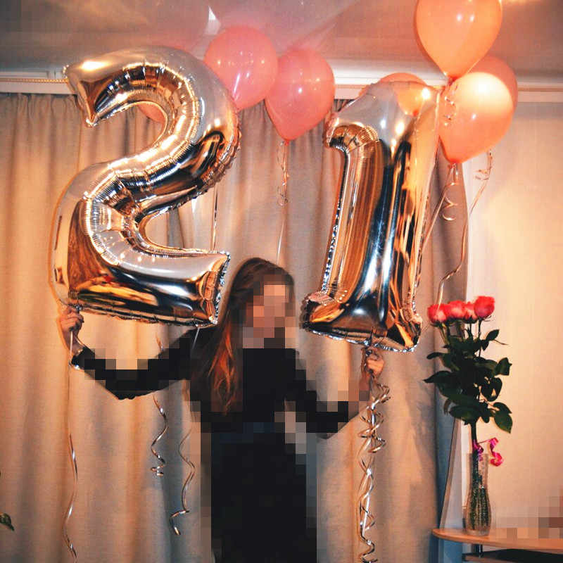 Figure Balloon Foil 40 Inches Years Helium Ballon Number Happy 18 Birthday Ball