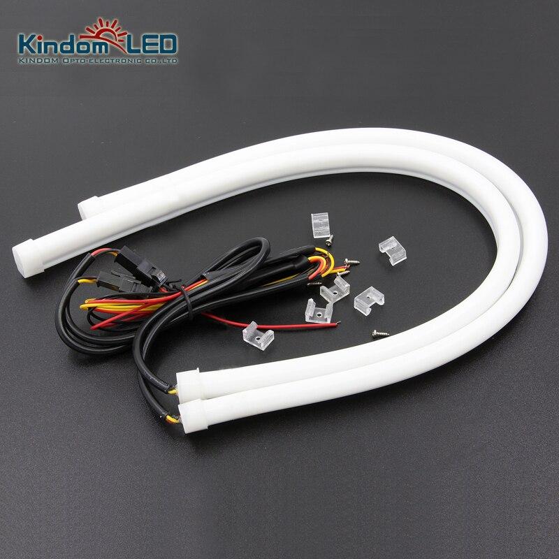 KINDOMLED 2x46cm car headlights daytime running light 12v supper bright flexible soft tube LED DRL bar strip lights
