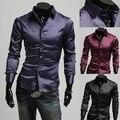 Бренд свободного покроя искусственный шёлк блестящий мужские рубашки длинная - рукав приталенный подходящий социальные Camisas Masculinas M-XXL