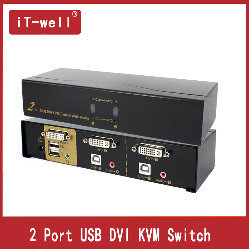 2Port DVI Switch KVM Switch AUTO DVI KVM Switch With Audio Video Cable For Mouse Keyboard Video Monitor