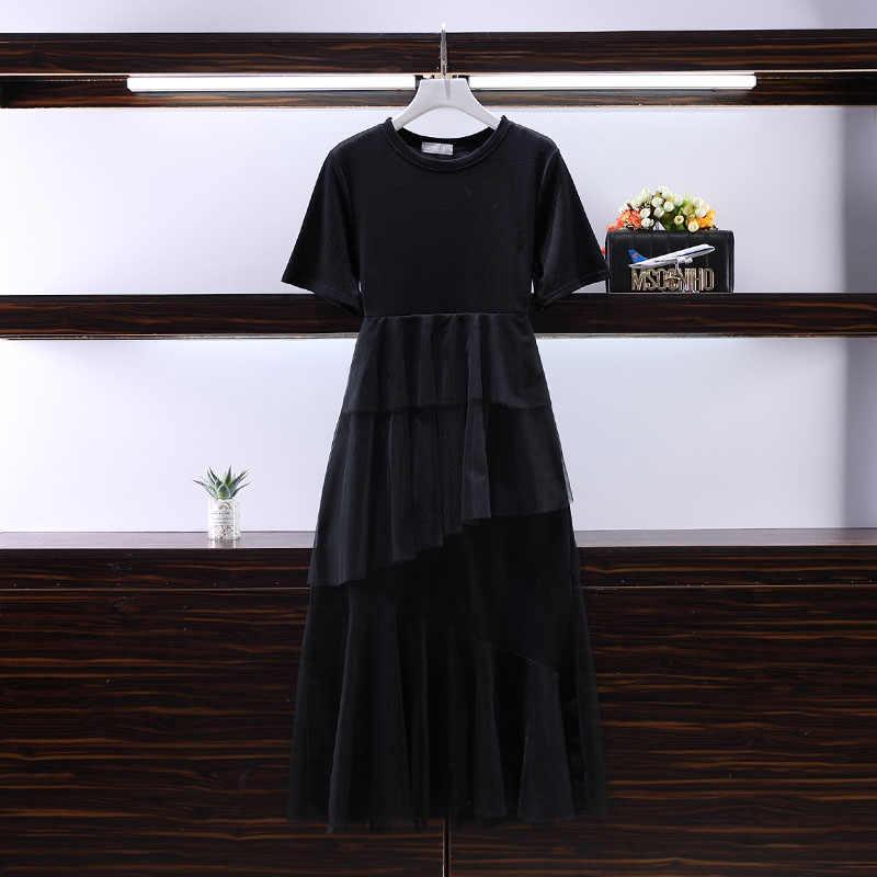 Новинка 2019, модное летнее платье с коротким рукавом и сеткой в стиле пэчворк, женское платье в Корейском стиле, модное женское платье OK823