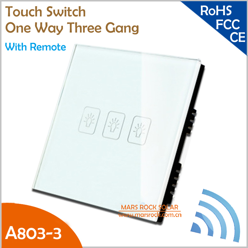 UK Touch Switch A803-03 Crystal Glass Panel Smart One Way Three Gang Wall Screen Switch with Remote White, Black and Gold Color smart home eu touch switch wireless remote control wall touch switch 3 gang 1 way white crystal glass panel waterproof power
