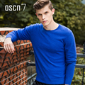 OSCN7 Blue Leisure Brand Sweater Men O Neck Long Sleeve Plus Size Slim Fit Winter Pullover Men Casual Business Swaters for Men