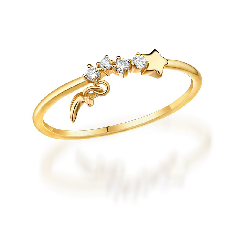 JXXGS White Zircon Fashion Simple Ring 14K Gold Ring Star/Moon Ring For Women Daily Wear