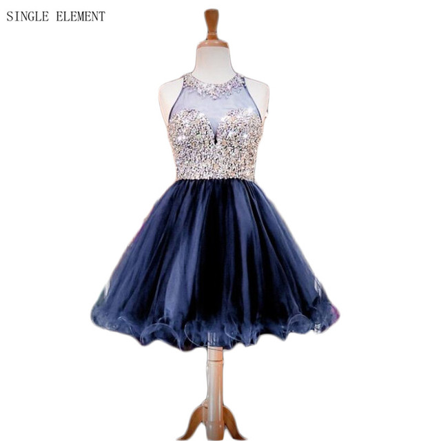 Sparkly Beaded Homecoming Dresses Navy Blue