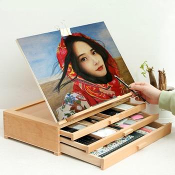 Caballete Pintura de tres capas soporte de madera óleo acuarela Gouache Pintura...