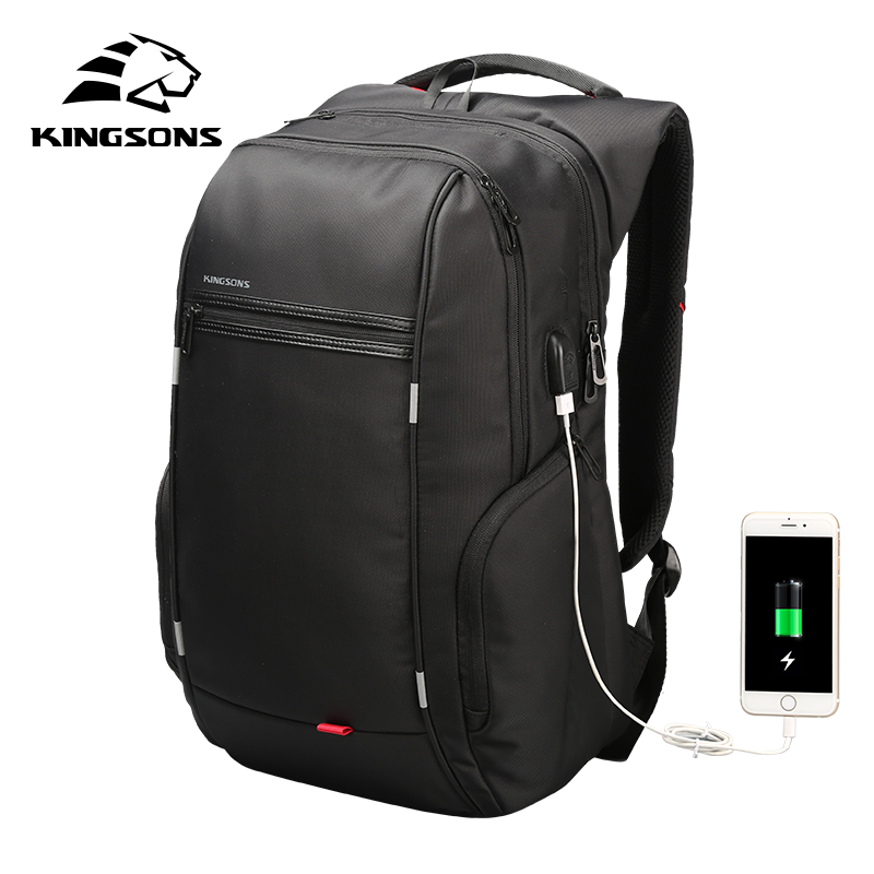 Kingsons Brand External USB Charge Computer Bag Anti-theft Notebook Backpack 15/17 inch Waterproof Laptop Backpack for Men Women 2018 tigernu new arrival laptop backpack 15 6 inch usb charge for men