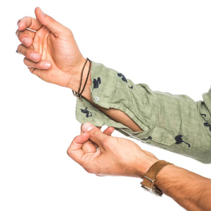 Image 5 - قمصان رجالي عصرية غير رسمية مطبوعة برسومات الفلامنغو الاجتماعية قطن كتان مقاس ضيق مناسب للصيف ياقة كورية هاواي كم طويل رجال أعمال