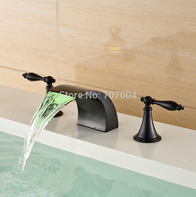 Deck Mounted Color Changing LED Vessel Sink Faucet Oil Rubbed Bronze Dual Handles with Waterfall Spout