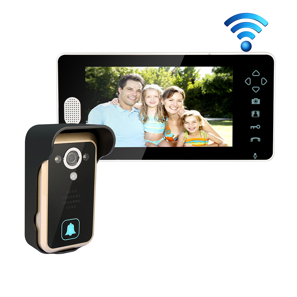 Free Shipping 2.4G Wireless 7 Touch Color TFT LCD Video Door Phone Intercom System 1 Outdoor Doorbell Camera 1 Screen In Stock brand new wired 7 inch color video intercom door phone set system 2 monitor 1 waterproof outdoor camera in stock free shipping